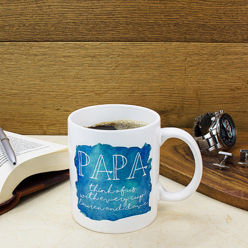 In a watercolour design in four different colourways this personalised mug is a lovely gift. Choice of four different colours Personalised the name and with a message up to 40 Made from ceramic