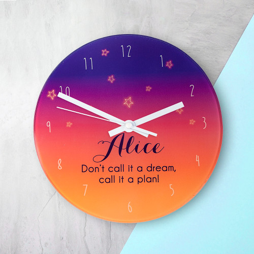 Simply beautiful Persian themed wall clock.  Add a touch of the exotic to your little one's bedrooms.  This 20cm glass wall clock is great to hang in their bedrooms.  Personalise with a name up to 15 characters and a short message.