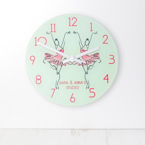 The perfect gift for a prima ballerina!  For the little girl who is always on her toes, spinning and twirling around in her ballet skirt and shoes. This 20cm glass wall clock is great to hang in their bedrooms.  Personalise with a name up to 15 characters.