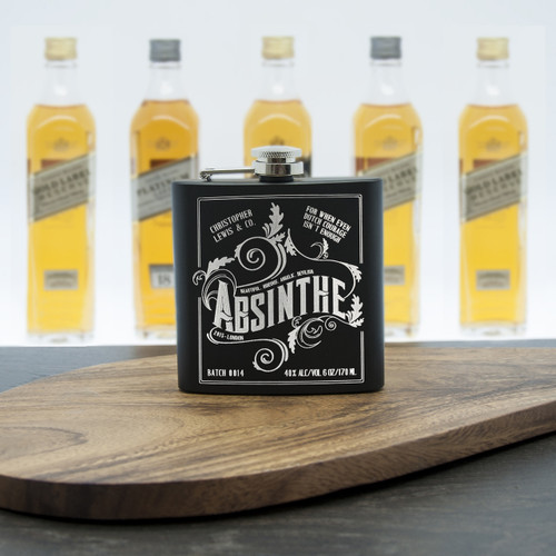 Absinthe, otherwise known as the 'Green Fairy' has seen a revival over recent years. The green fennel tasting drink was a popular tipple of choice with French aristocracy and creatives.  We have taken inspiration from this period of time and captured both the style and spirit and have combined it with a modern, contemporary matte black finish.  Personalise with a name up to 15 characters.  The year comes as standard.