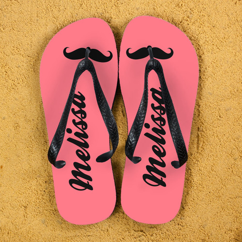 Moustache feature flipflops! Can be personalised with a name The straps and soles of the flip flops are black Available in several colourways  Size Guide: Large - 10 - 12 Medium - 7 - 9 Small - 4 - 6