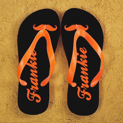 Moustache feature flipflops! Can be personalised with a name The straps and soles of the flip flops are orange Available in several colourways  Size Guide: Large - 10 - 12 Medium - 7 - 9 Small - 4 - 6