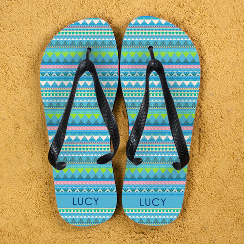 Colourful and fun Aztec style personalised flip flops Can be personalised with a name The straps and soles of the flip flops are black Available in several colourways  Size Guide: Large - 10 - 12 Medium - 7 - 9 Small - 4 - 6