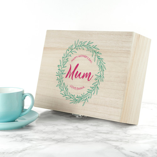 The perfect gift for Mum!  Made from solid pine with silver clasp, each box is filled with a selection of heart-warming Pukka tea.  Filled with a blend of traditional tea;   Elegant English Breakfast - A morning chorus of wild Vietnamese organic whole leaves.  Gorgeous Earl Grey - An inspiring infusion of organic whole leaf tea, bergamont & lavender.  After Dinner - A delicious digestif of organic sweet fennel, roasted chicory & cardamom.