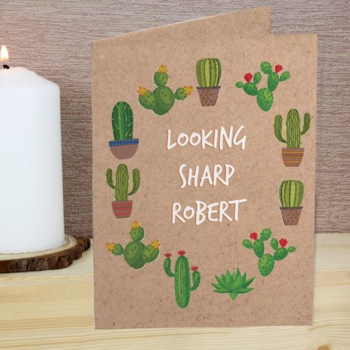 Our fun and colourful Cactus Card is an ideal way of sending your best wishes to a treasured recipient.   The front of this card can be personalised with 3 lines of text with up to 15 characters per line. The inside of the card can be personalised with a messages over 5 lines of text with up to 20 characters per line.   All text entered will appear in upper case.   All cards come in a brown outer envelope with a plain white envelope inside. Our cards measure 185mm x 132mm.