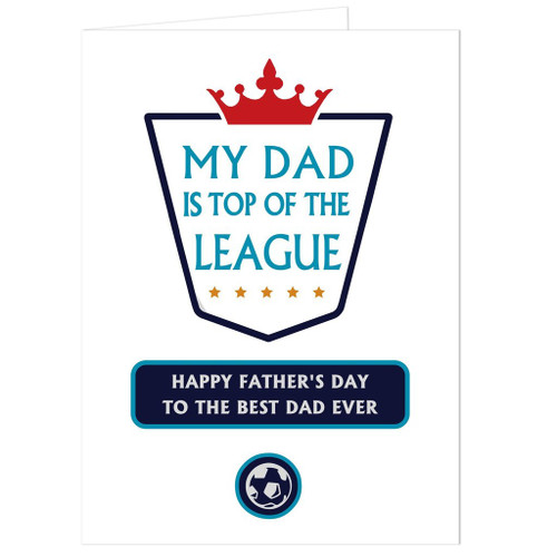 Personalise this Top of the League card with a name up to 12 characters (to appear in uppercase), a message over 2 lines of 20 characters on the front and a further message inside the card of up to 5 lines of 20 characters each.   'Is top of the league' is fixed text.  All Cards come in a brown outer envelope with a Plain White envelope inside.  All cards measure 185mm x 132mm.
