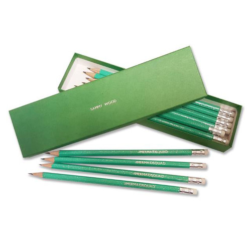 This glittery set contains twelve 19cm pencils all are silver embossed with #MERMAIDSQUAD and are presented in 20.5 x 5.5 cm matching box personalised with any name up to 22 characters. Please Note – the personalisation for this product will always be in capital letters and the only available special characters are '!?#@;-:.