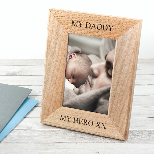 The perfect gift for dad this Father's Day! Made from solid oak Personalise with two line of text, top and bottom Frame fits 6'' x 4'' photos