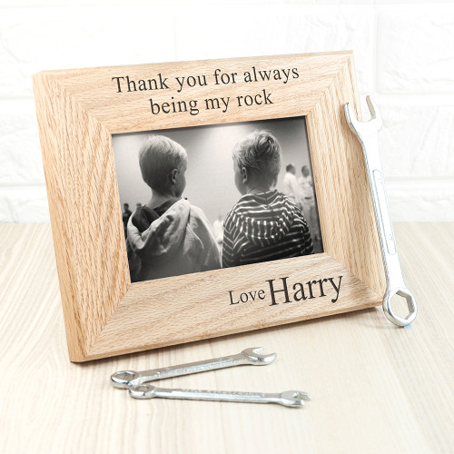 The perfect gift for dad this Father's Day! Made from solid oak Personalise with a name of who the frame if from The words 'thank you for always being my rock' and 'love' come as standard text Frame fits 6'' x 4'' photos