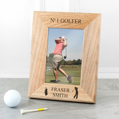 The perfect gift for dad this Father's Day! Made from solid oak Engraved with his full name The words 'No1 Golfer' come as standard text Frame fits 6'' x 4'' photos