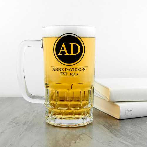High quality glass tankard, with heavy base.  Have him drinking in style!  Personalise with initials, name and year of birth.