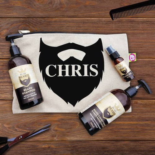 Treat your bearded recipient to their very own beard grooming kit. Personalise the bag, inside the beard design, with their name of up to 22 characters. Inside the 21 x 31cm padded canvas bag is a 300ml bottle of beard conditioner & face moisturiser, a 300ml bottle of beard shampoo and a 30ml bottle of beard oil. All blended from the finest natural ingredients. Light & non-greasy with a subtle, contemporary masculine fragrance. Not tested on animals and suitable for vegans.