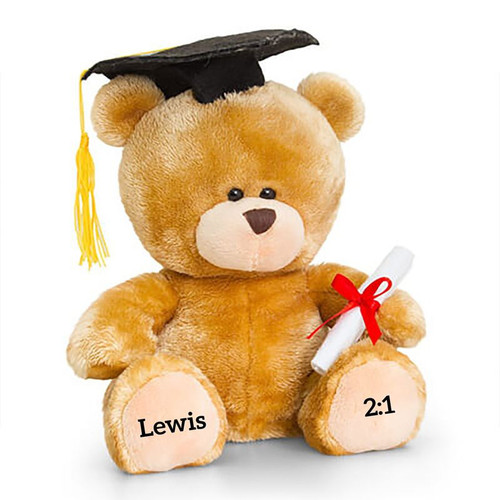This high quality 20cm sitting bear is the perfect gift for graduation. Simply personalise each paw with a message of 15 characters to add a personal touch.
