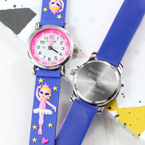 Telling the time has never been so fun with this ballet themed personalised watch!  Whether it's their first watch, a way to commemorate a special achievement or event in their life - this personalised watch is a wonderful gift.  Made from durable, soft rubber and hardwearing stainless steel meaning not only is the watch able to withstand the rough and tumble of everyday child play but is also comfortable and gentle on their precious skin.  The face of the watch makes telling the time simple, with 'to' and 'past' on the left and right hand side - helping little ones become mini time telling geniuses!  Our watches come with a 12 month guarantee for peace of mind.  Personalise the watch with a message which will be engraved onto the back of the watch.  Beautifully presented in a gift box.  Watch face - 2.7cm  3ATM water resistant Japanese movement Moving symbol second hand