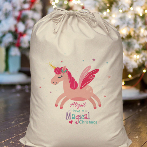 Personalise this cute Christmas Sack with a name of 15 characters. This 170gsm cotton sack is 46 cm wide and 60 cm tall. Whether it's a gift for the big day or just a new addition to the collection, this sack will make sure they feel loved this Christmas and they will be able to re-use it again and again. Dimensions 46 x 60 x 1 cm