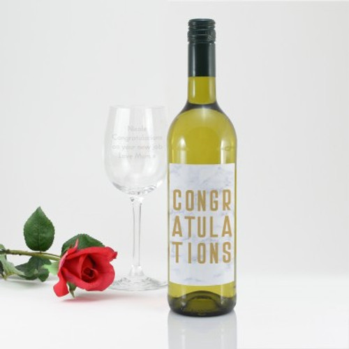 Personalised Congratulations White Wine Gift Set