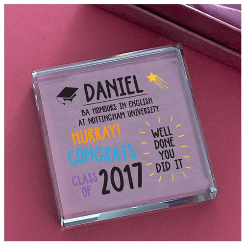 Personalised Graduation Well Done Colour Glass Block