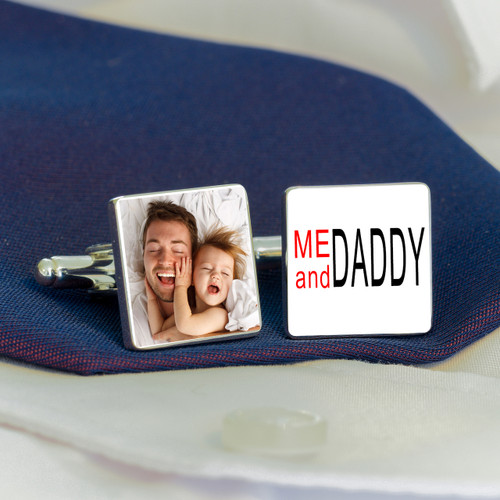 "High quality silverplated square cufflinks. One cufflink has the message ""ME and DADDY"" and the other is personalised with a photograph of your choice. Supplied in a smart cufflink case."