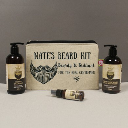 Treat your bearded recipient to their very own beard grooming kit. Personalise the bag with their name of up to 15 characters, this will appear before the fixed text 'beard kit. Beardy & Brilliant. For the perfect gentleman.' Inside the 21 x 31cm padded canvas bag is a 300ml bottle of beard conditioner & face moisturiser, a 300ml bottle of beard shampoo and a 30ml bottle of beard oil. All blended from the finest natural ingredients. Light & non-greasy with a subtle, contemporary masculine fragrance. Not tested on animals and suitable for vegans.