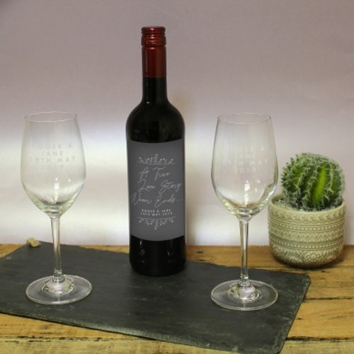 Personalised True Love Story Red Wine Gift Set