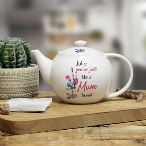 Personalise this 25oz teapot with your loved one's name using a maximum of 15 characters. This will be fired above the fixed quote 'You're Just Like A Mum To Me!' The teapot measures 11cm high, 20cm width and 12cm depth.