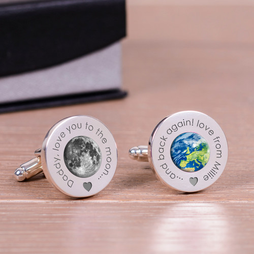 "High quality round silverplated cufflinks. One cufflink has an image of the moon, the other an image of earth. The first cufflink is engraved ""Daddy, love you to the moon..."". The second cufflink is engraved ""...and back again!"", simply add a message to complete the design. Supplied in a smart cufflink case."