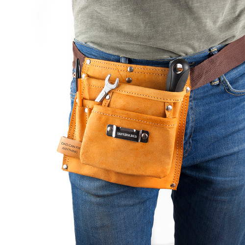 Made with heavy duty leather, this 6 pocketed tool belt is perfect to wear on a construction site, or to keep all essential tools handy for building and fixing things in the home! Pockets can fit, nails, screws, pens, pencils, tape measurer, hammers and similar.  The belt comes with a fully adjustable nylon webbed belt, to strapon comfortably to any waist.