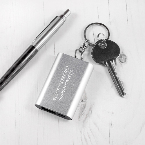 Imagine you're out and about and suddenly notice your phone is dying and you've forgotten your regular powerbank! What to do? A convenient, compact 1000 mAh powerbank, made with aluminium is attached to a keychain so it's convenient and easy to take wherever you go. This powerbank is great to use as an emergency backup battery that charges your phone up to 50%.