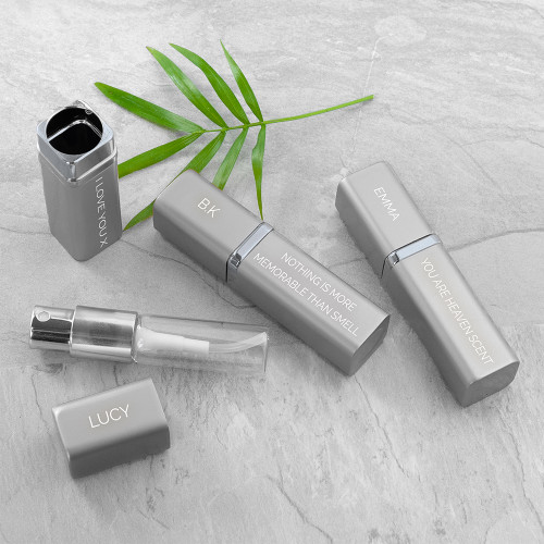This personalised atomiser is an essential accessory for any woman and can hold up to 5ml of her favourite scent. Personalise message will be engraved on the bottom side of the atomiser, whereas a smaller message or name can be engraved on the lid. Available in gold finish or silver finish