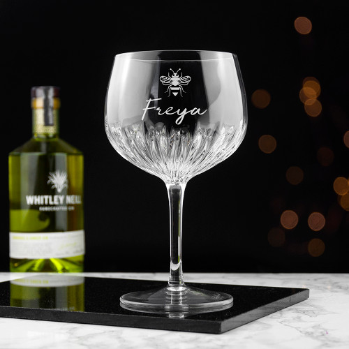 The gin goblet comes with intricate design on the on the stem and the bottom of the cup. The goblet can be personalised with a choice icon of hearts, honey bee or botanical and add a name, so that no one else can sip your gin and tonic and get away with thinking it was their glass! The icons can be used to add a touch of personality to the gift.  A particularly unique gift for her on her birthday, or for Valentine's Day.