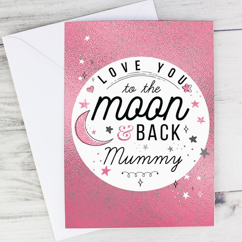 This beautiful Personalised Moon and Back Card is a feminine twist on the popular sentiment.  Personalise the front of this card with any name up to 12 characters. The inside of this card can be personalised with up to 7 lines, 25 characters per line.  'I love you to the moon and back' is a fixed part of the design.  Please note all personalisation will appear as requested. Please refrain from using block capitals as this may be hard to read.  All Cards come in a brown outer envelope with a Plain White envelope inside.  All cards measure 185mm x 132mm.  Perfect for Anniversary, Valentine's Day, Mother's Day.