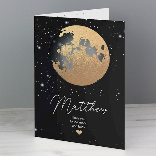 Our Personalised Sun, Moon & Stars card is a modern take on a romantic sentiment! Depicting a stylised moon and heart constellation, it's a subtle design for both men and women.  This card can be personalised to the front with Name of up to 12 characters Message over three lines of 25 characters per line.  Add a message to the inside of the card, over 6 lines of 25 characters per line.  All personalisation will appear as entered. Please refrain from using all capitals as it might make the text hard to read.  All Cards come in a brown outer envelope with a Plain White envelope inside.  All cards measure 185mm x 132mm.  Ideal for Valentines, Anniversaries, Birthdays.