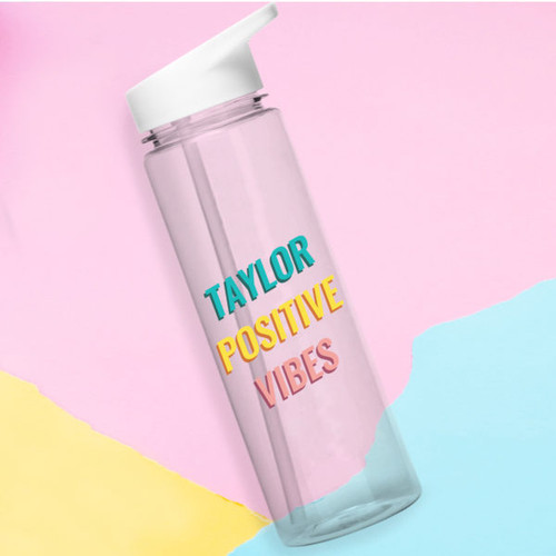 Personalise with a name of up to 15 characters. Your chosen name will be printed above the fixed Text 'Positive Vibes'. The bottle features a white screw top lid with a foldable spout for drinking. It holds 800ml and is BPA free.