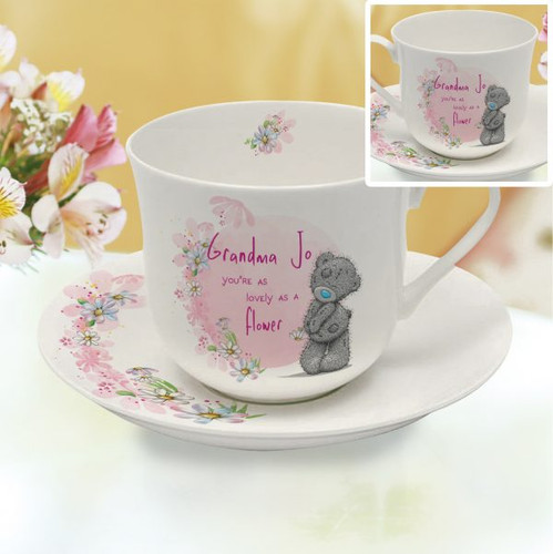 Personalise this white bone china cup and saucer with a name of up to 15 characters. Their name will feature before the fixed text 'you're as lovely as a flower' and is surrounded by a lovely floral print making this the perfect gift for any occasion. Dimensions: Saucer 18cm diameter. Cup: 9cm tall, 14cm wide (Inc. handle) and 11cm depth. Dishwasher and microwave friendly.