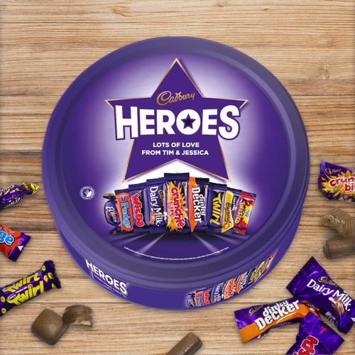 This fantastic and delicious Personalised Cadbury Heroes Tin is the perfect all year round gift. Whether it's a Christmas present with a twist or the perfect gift for dad this Father's Day, the Cadbury Heroes Tin will bring a smile to their face on their special day. It makes a great gift to take to a party too, as everyone's favourite Cadbury heroes are included in the tin.  It makes a great gift for your favourite teacher, or for a friends reunion or as a thank you for mum and dad. Who doesn't love Cadbury Heroes!  The lid can be personalised with any name/message up to 25 characters over 2 lines. The name can be 'Dad', 'Mum', '1# Friend' or their actual name! It can be anything you want! The tin includes Whispa, Crunchie, Fudge, Double Decker, Eclairs, Dairy Milk, Twirl, Dairy Milk Caramel and Twisted.