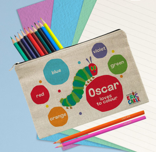 Add a name of up to 15 characters to this colour themed pencil case and 12 colouring pencils! The name will appear before the fixed text 'loves to colour' and on all 12 pencils. The case is a natural light oatmeal colour with a padded inside and measures 25 cm wide by 16 cm high.