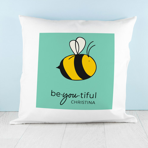 """Sometimes a little message of encouragement can go a long way in making someone's day, to make them smile, to have them believe in themselves. The appropriately punned """"Bee You"""", complete with a bee design for effect, enhances this message. The cushion cover measures 45 x 45 cm, which makes it an ideal throw or decorative pillow in any living room, or even bedroom."""