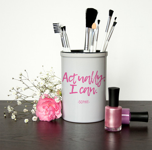"""Handy storage for make up brushes and other accessories, """"Actually I Can"""" comes as a standard text, guaranteed to give you the confidence boost needed before heading out for the day."""