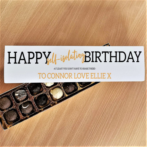 These personalised luxury truffles sure are hit the mark. The beautifully smooth and rich chocolate truffles are a perfect pick me up! The outer box is can be personalised by adding a special message using up to 30 characters. Please note 'Happy Self-isolating Birthday' and 'At least you don't have to share this' are fixed text. All 16 truffles contain milk.
