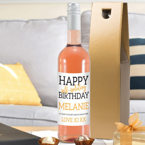 Send your birthday wishes with our bottle of French Rosé. It features a fun label which can be personalised by adding their name and special message. Please note 'Happy Self-isolating Birthday' and 'At least you don't have to share this' are fixed text. The bottle is presented in a gold gift box filled with red stuffing ready to give to the recipient. Box Dimensions 38 x 9.5 x 9.5cm.