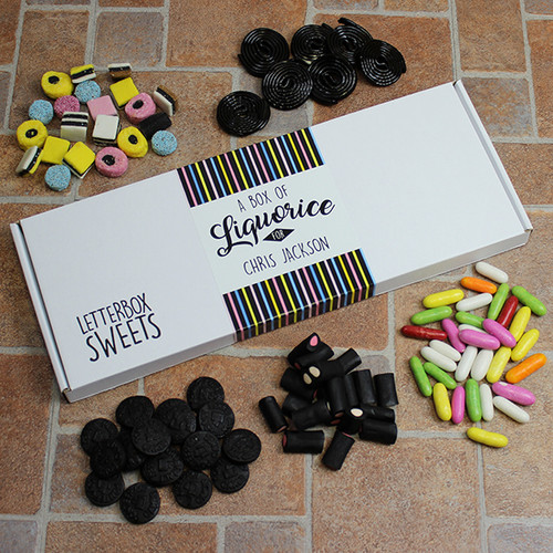 Delivered straight through your letterbox!  A fun way to send your liquorice loving friend a little gift through the post. Our box is packed with around 450g of Liquorice treat for them to enjoy.  The postal box is then sealed with a personalised 'Liquorice' sticker.  •Personalised Postal Box Measuring 35 x 13.5 x 2cm. •Filled with 5 delicious Sweet bags. •Fits through a letterbox.
