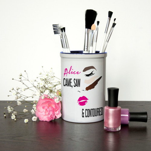 For the girl who loves to contour!  A fun and vibrant makeup brush holder that will no doubt take pride of place on her dressing table. The holder is made from solid ceramic making it perfect for brush storage which won't topple over unlike other plastic holders on the market.  You are able to personalise the holder with a name, making this a fabulous gift for a makeup lover.