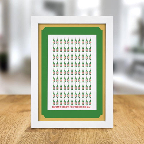 "Personalise this beer themed A4 framed print with a name using up to 15 characters. Your chosen name will be printed before the fixed quote '99 bottles of beer on the wall'. The frame is 34.5cm tall, 25.5cm wide and 1.5cm thick with an easel back. The print inside is 9"" x 6""."