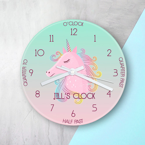 It's incredibly important for children to learn how to tell the time, it takes practice and patience. We've made it easy and most importantly fun for children to learn. In vibrant watercolour and with easily broken down segments children are able to dissect the time with ease.   This 20cm glass wall clock is great to hang in their bedrooms.   Personalise with a name up to 12 characters.   The word 'Clock' comes as standard.