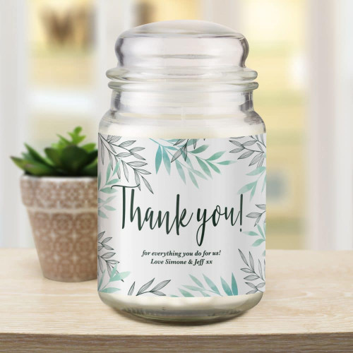 A perfect gift to say 'Thank You'. Personalise this lovely french vanilla candle with a message over two lines below the fixed text 'Thank You'. Dimensions 15 x 7.5 x 7.5cm.
