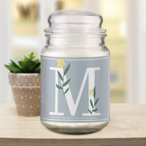 This personalised Candle Jar is sure to hit the mark. The beautifully French vanilla scented glass candle jar features a floral Initial label which can be personalised with a special message of up to 50 characters. Dimensions 15 x 7.5 x 7.5cm.