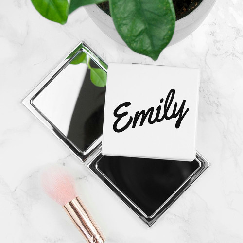 Square metal compact mirror. Can be personalised with a name up to 12 characters.