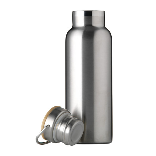 Keep yourself hydrated with our stylish eco-friendly reusable water bottles - the perfect companion for every day. In a gorgeous matte finish with a minimalistic design, this double wall insulated bottle can keep drinks both cold and hot - use no matter the weather!    Made from durable stainless steel and featuring a bamboo lid, vacuum seal and metal handle - take this stylish bottle to the office, gym or use on the go.   Each bottle can be personalised with your name or initials in stunning silver letters.    - 500ml - H 22 cm x W 7cm - Double wall insulated  - Leak-proof - Hand wash only - Stainless steel and bamboo - Available in Black, Green, Silver and White