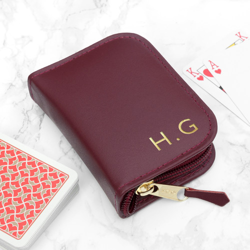 Genuine leather playing card case