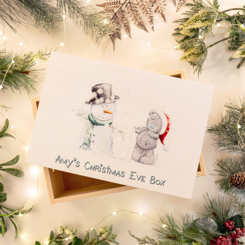 Personalise our fun wooden Me To You Christmas Eve Box with a name/s of up to 20 characters above the fixed text 'Christmas Eve Box'. It could be your family name with a treat inside for everyone or it could be an early present from Santa Claus as children are always desperate to open one present the night before Christmas. The box is 26cm wide, 15cm tall and 18cm depth and made from pine wood. You are able to reuse this box every year to keep the magic alive!